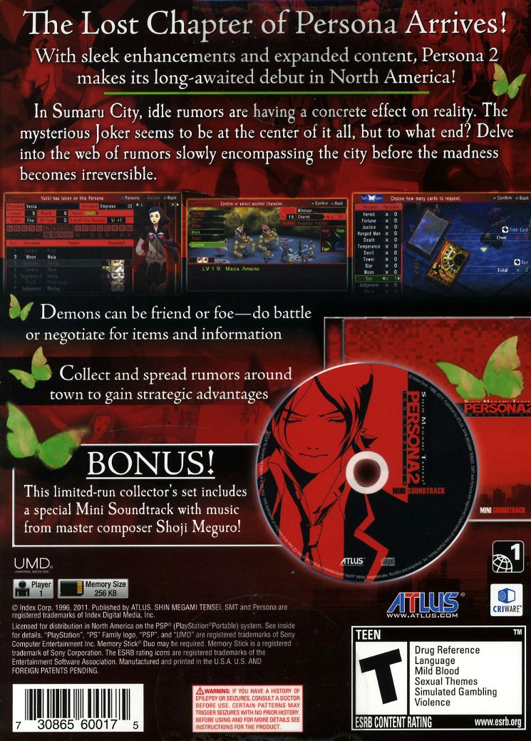 Persona 2: Innocent Sin with mini OST back cover