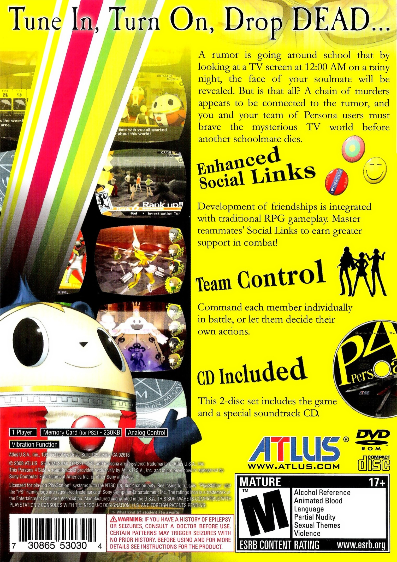 Persona 4 US back cover
